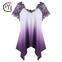 Plus Size  Lace Crochet Trim Ombre Asymmetric Blouse Shirt Short Sleeve Tie Dye