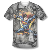 Superman Break On Through Sublimation Gray T-Shirt