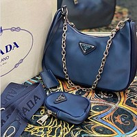 Prada simple solid color women's armpit bag mahjong bag three-piece set