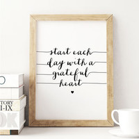 'Start Each Day' Inspirational Typography Art Print