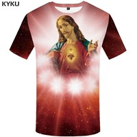 KYKU Jesus T-shirt Women Galaxy T Shirt Punk Rock Clothes Space 3d Printed Tshirt Character Gothic Womens Clothing Summer New