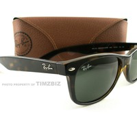 New Ray-Ban Sunglasses RB 2132 Tortoise Green New Wayfarer 902L Authentic