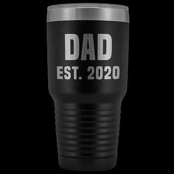 Dad Est 2020 Tumbler Funny Father's Day Gifts Expecting Father Mug Double Wall Insulated Hot Cold Travel Cup 30oz BPA Free