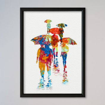Umbrella Poster Rainy Day Poster Watercolor Gift Poster Home Decor Wall Hanging