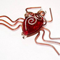 """Spider Pin Brooch Red Jelly Belly Rhinestone Copper Brass Wrapped Metal 3"""" Vintage"""