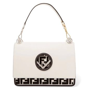 Fendi Flocked Black White Shoulder Bag