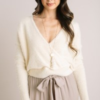 Gemma Fuzzy Surplice Sweater