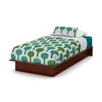 Twin Size Platform Bed Frame in Royal Cherry Wood Finish