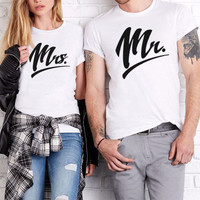 Mr Mrs T-shirts Mr and Mrs Couples Shirts Matching Couple Shirts Best Gift 100% Cotton
