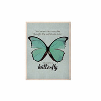 """NL Designs """"Blue Butterfly"""" Blue Quote KESS Naturals Canvas (Frame not Included)"""