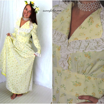 Vintage 60s boho yellow flower maxi dress S 1960s long hippie floral wedding gown vintage country prairie maxi dress SunnyBohoVintage