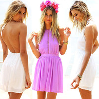 Summer Casual Beach Lace Patchwork Shaped Backless Women's Fashion One Piece Dress [9408685772]