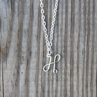 Single letter silver-plated initial necklace