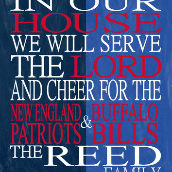 A House Divided - New England Patriots & Buffalo Bills personalized family poster Christian gift sports art -multiple sizes