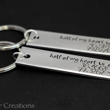Half of My Heart Is At Latitude Longitude Custom Keychain for Long Distance Couples, Boyfriend Girlfriend Anniversary Gift with Coordinates