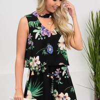 Tropical Black Floral Romper