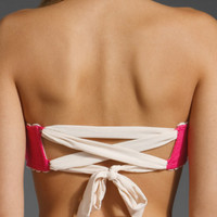 JUICY COUTURE Tea Rose Tie Back Bandeau in Dragonfruit at Revolve Clothing - Free Shipping!