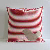 off white bird applique on red and white striped pillow cover , 20X20