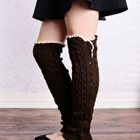 Cable Knit Button Down Boot Socks Coffee Dark Brown Leg Warmers