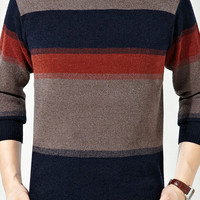 Striped Knitted Long Sleeve Pullover Men Sweater