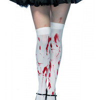 "Women's ""Bloody Zombie"" Thigh Highs by Leg Avenue (White)"