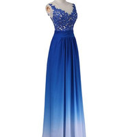 Lace Prom Dresses,Cap Sleeves A-line Ombre Prom Dress 2016, Evening Dresses