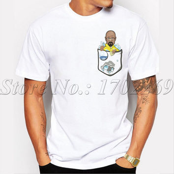 Men short sleeve o-neck casual t-shirt Meth Pocket Heisenberg in the Pocket funny cartoon printed male tops hipster cool tee