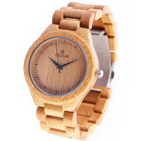 Bamboo Watch with Leather Belt 017