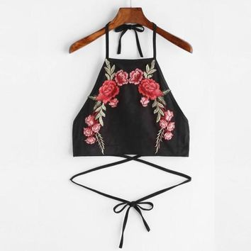 Sexy Halter Neck Bandage Crop Tops Women Flower Embroidery Backless Fashion Tank Top Summer Short Camisole #23