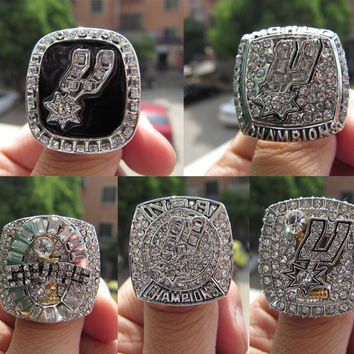 5pcs 1999 2003 2005 2007 2014 San Antonio Spur Replica Championship Ring For Fans