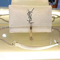YSL Women Shopping Leather Metal Chain Crossbody Satchel Shoulder Bag From Bailianyi
