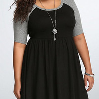 Color Block Plus Size Half Sleeves Dress