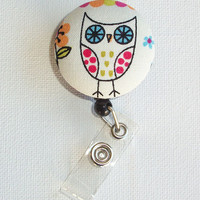 Retractable ID Badge Holder Reel  - Fabric Button - Cutie hooty - owl