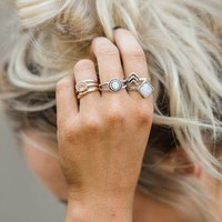 Iridescent Stone Layering Rings