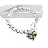 Colored Puzzle Piece Heart Beaded Bracelet for Autism Awareness
