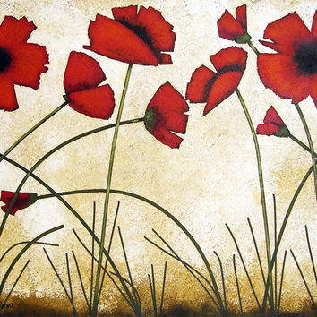 """Poppy Painting - """"Warm Red Poppies"""""""