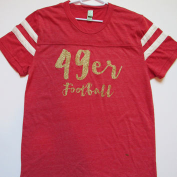 SALE - MEDIUM - 49ERS FOOTBALL - T-SHIRT - Ruffles with Love - Womens Fitness - Workout Clothing - Workout Shirts with Sayings