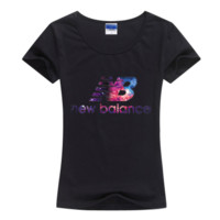 """New Balance"" Women Fashion Casual Letter Galaxy Print Round Neck Short Sleeve Cotton T-shirt"