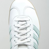 adidas Originals White And Mint Gazelle Sneakers With Gum Sole at asos.com
