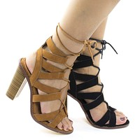 Sage26 By Liliana, Open Toe Caged Leg Wrap High Stack Heeled Sandals