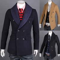 Double Breasted Unique Collar Design Mens Wool Coat