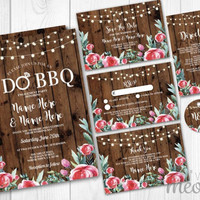 Wedding Invitations Set Template Rustic Wood Red Package Printable Invites Save The Date INSTANT DOWNLOAD Tags Floral Personalize Editable