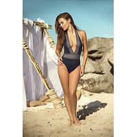 Blue w/Lace Deep Plunge V Neck High Cut Hip Leg Brazilian Cheeky One Piece Swimsuit
