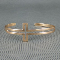 Gold Sideways Cross Cuff Bracelet