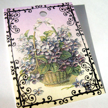 Violet Gift Tags Set of 9 Beautiful Purple Flowers in Baskets And Bouquets