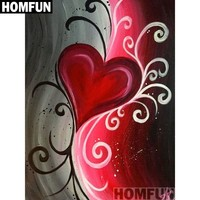 5D Diamond Painting Abstract Gray and Red Heart Kit