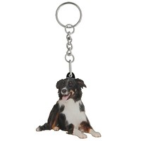 Border Collie Mirrored Acrylic Keychain