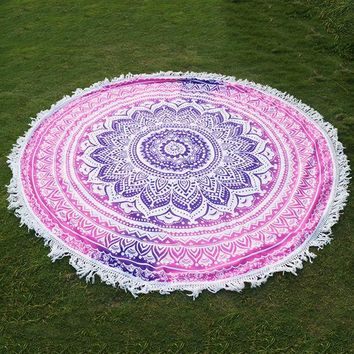 CREYU3C Round Indian Mandala Tapestry Printed Hippie Wall Hanging Boho Beach Throw Towel Yoga Mat Bed Sheet Tablecloth Home Decor