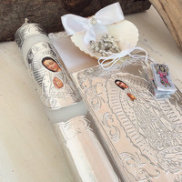 Communion candy set, Baptism Candle set, candle, scapular, and rosary,  Virgen de Guadalupe, New Testament