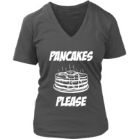 Pancakes Please Shirt - Breakfast Food Tee - Food T-Shirt - Womens Plus Size Up To 4X